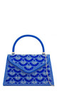 Blue beaded sliver detail handbag by Hello Handbag