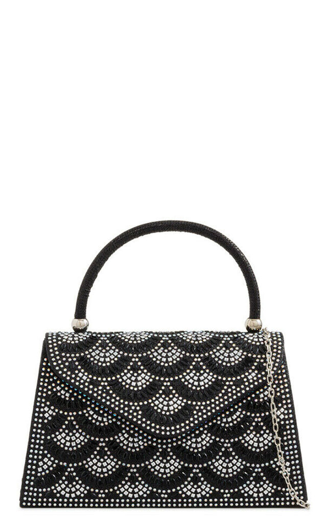 Black beaded sliver detail handbag by Hello Handbag