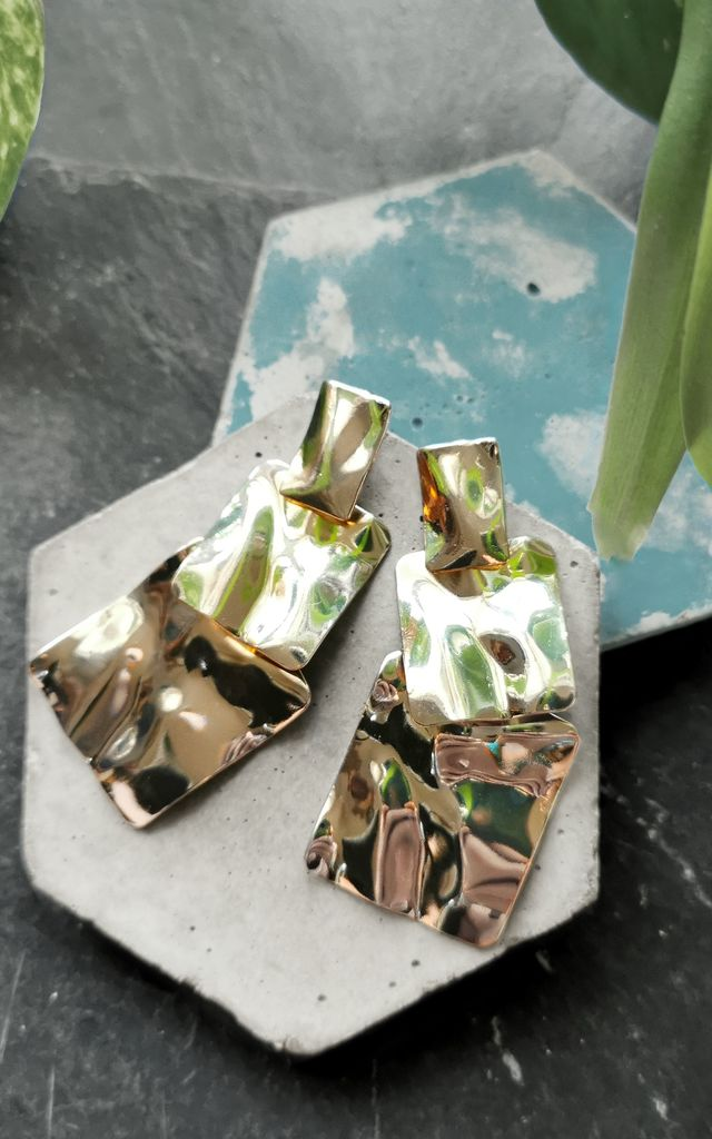 Gold Tone Statement Drop Earrings by Xander Kostroma