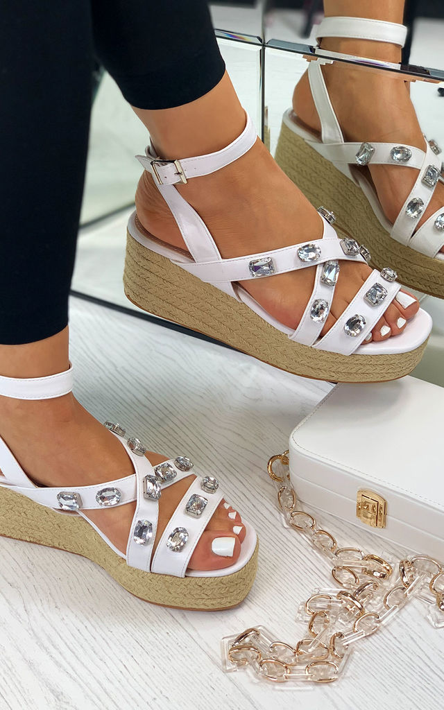 Lavish Summer Gemstone Espadrille Sandals In White by Larena Fashion