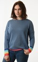 Denim Blue Jumper with Rainbow Cuffs by Nautical and Nice Ltd