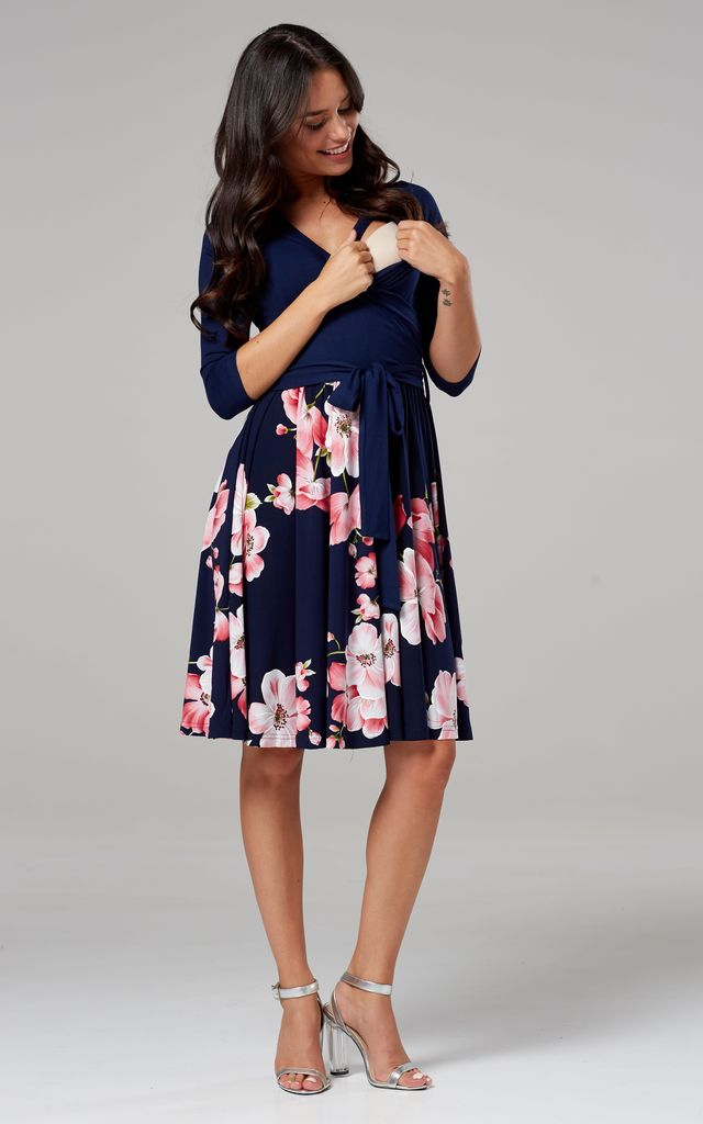 Maternity Skater Dress in Navy & Floral Print by Chelsea Clark