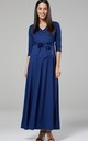 Maternity & Nursing Layered Maxi Dress in Blue Grey 608 by Chelsea Clark