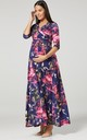 Maternity & Nursing navy Layered Maxi Dress in floral print 608 by Chelsea Clark