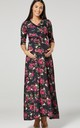 Maternity & Nursing black Layered Maxi Dress in floral print 608 by Chelsea Clark