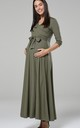 Maternity & Nursing Layered Maxi Dress Khaki 608 by Chelsea Clark