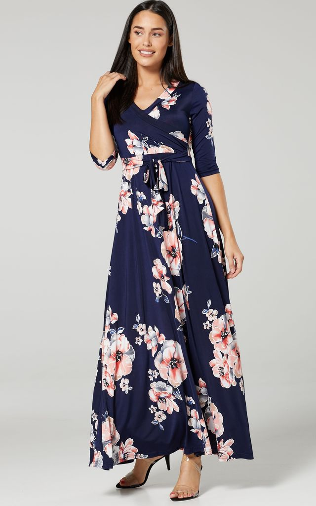 Maternity & Nursing Maxi Dress in Navy Floral Print by Chelsea Clark