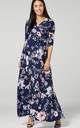 Maternity & Nursing Maxi Dress in Navy & Pink Floral Print 608 by Chelsea Clark