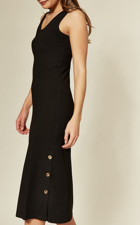Ribbed Jersey Midi Dress in Black by Joe Browns