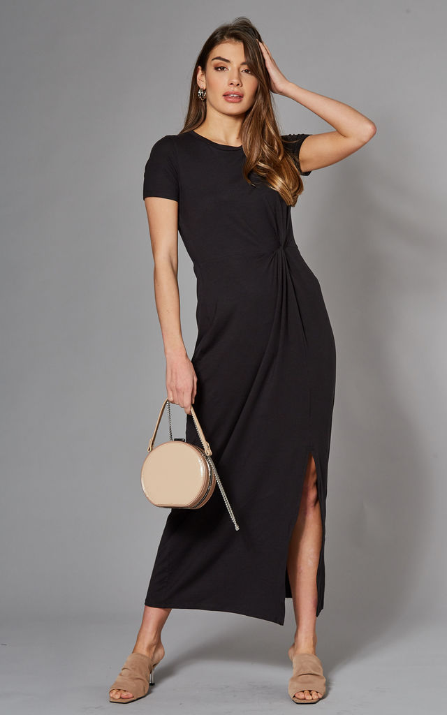 Jersey Maxi Dress with twist detail in Black by VM
