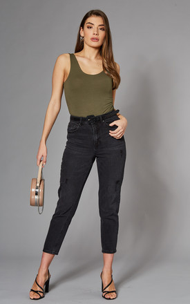 Mom Ankle Jeans with High Waist in Black by VM