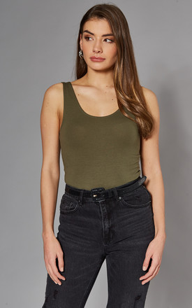Sleeveless Scoop Neck Bodysuit In Khaki by Noisy May Product photo