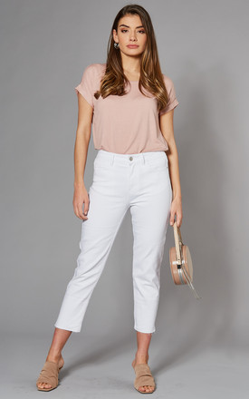 High Waist Straight Leg Cropped Jeans In White by ONLY Product photo