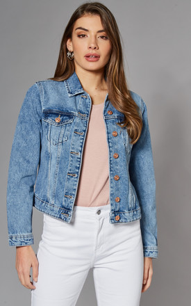 Denim Jacket In Light Blue Wash by Pieces Product photo