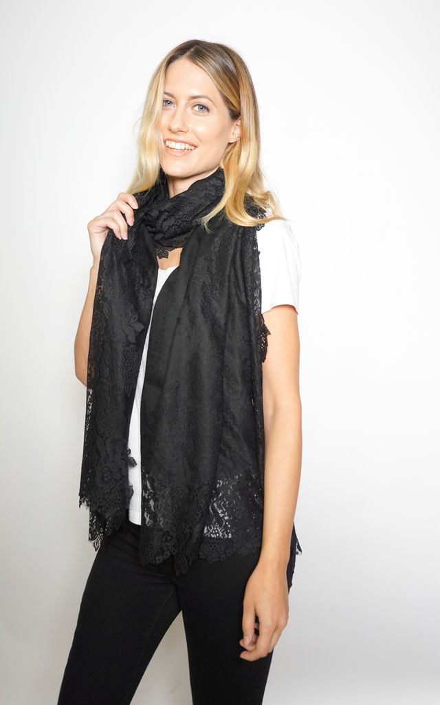 Floral Lace Scarf in Black by Trillion London