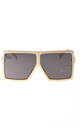Oversized Square Frame Sunglasses  in Cream by LOES House