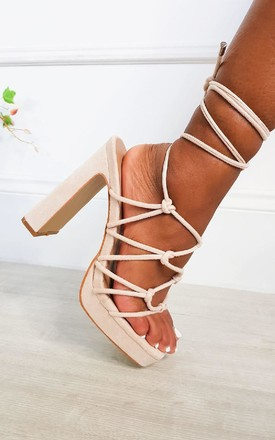 Monica Strappy Block High Heels  in Cream by IKRUSH