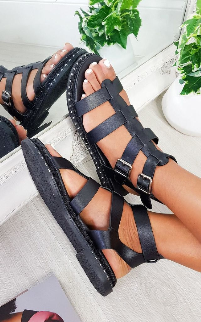 Tessi Strappy Flat Sandals in Black by IKRUSH