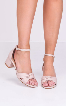 Beige Faux Leather Block Heel Sandals with Knot Front by LILY LULU FASHION