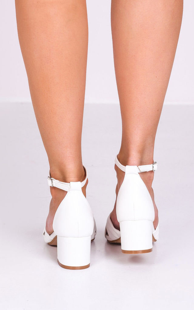 White Faux Leather Block Heel Sandals with Knot Front by LILY LULU FASHION