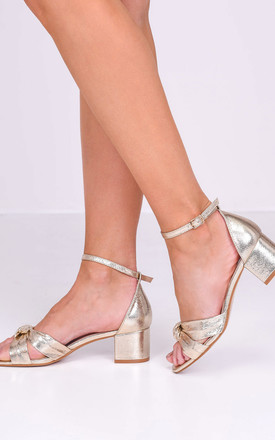 Gold Faux Leather Block Heel Sandals with Knot Front by LILY LULU FASHION
