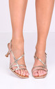 Gold Strappy Faux Leather Sandals with Kitten Heels by LILY LULU FASHION