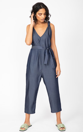 Racer Back Summer Denim Cropped Romper Jumpsuit by likemary