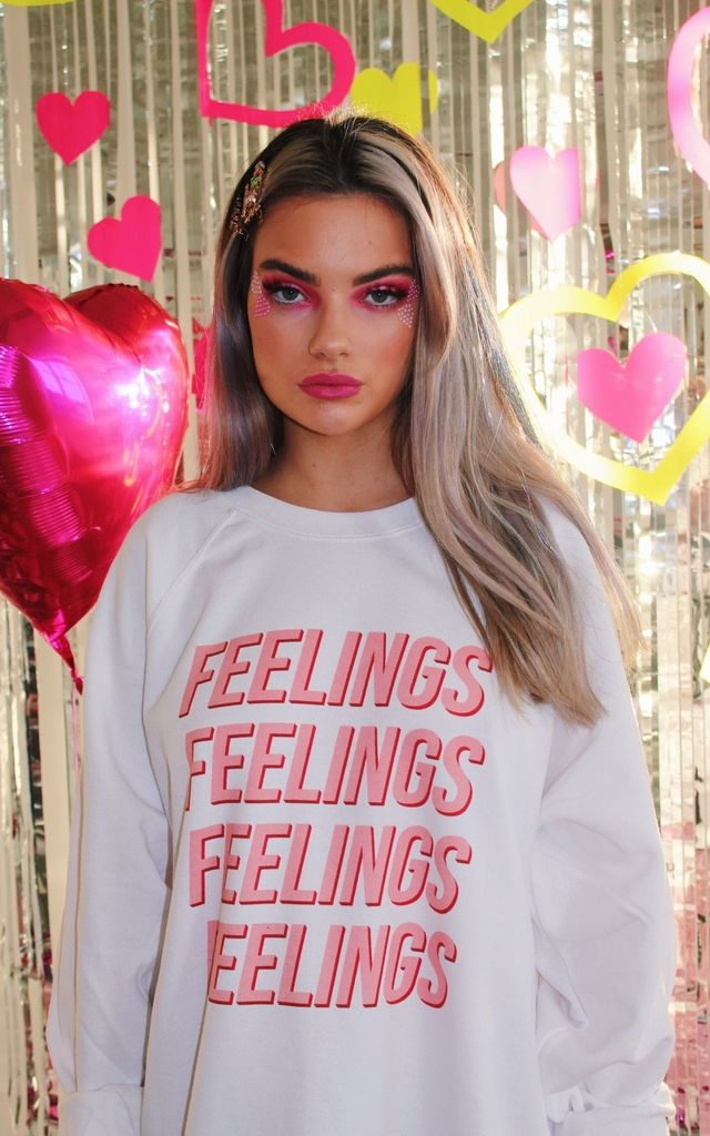 FEELINGS White Sweatshirt with Screen Printed Slogan by Isolated Heroes