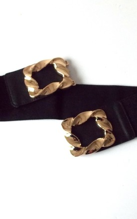 Black Stretch Style Waspy Belt with Gold Buckle by Olivia Divine Jewellery