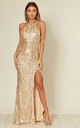 Holly Gold Blush Sequin Backless Maxi Dress With Split by Honor Gold