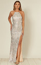 Holly Silver Sequin Backless Maxi Dress With Split by Honor Gold