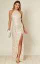 Holly Pearl Sequin Backless Maxi Dress With Split by Honor Gold