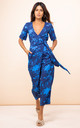 Atlantis Wrap Jumpsuit in Silhouette Dark Blue Ground by Dancing Leopard