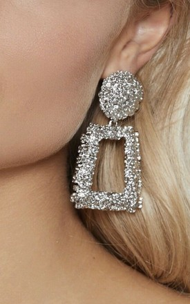 Monroe Silver Statement Chunky Rectangle Earrings by GIGILAND Product photo