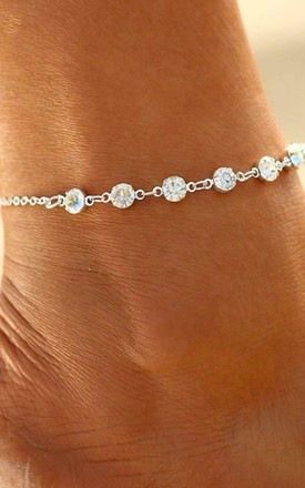 Boho Diamante Beaded Anklet In Gold by GIGILAND Product photo