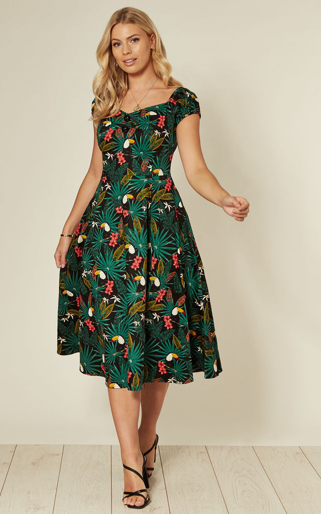 Dolores off the shoulder midi swing dress in dark green parrot pattern by Collectif Clothing