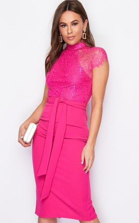 Lyla High Neck Lace Top Midi Dress Fuchsia by Girl In Mind
