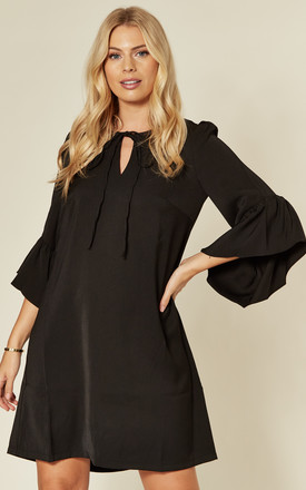 Flare Sleeve Mini Tunic Dress in Black by JOLIE MOI