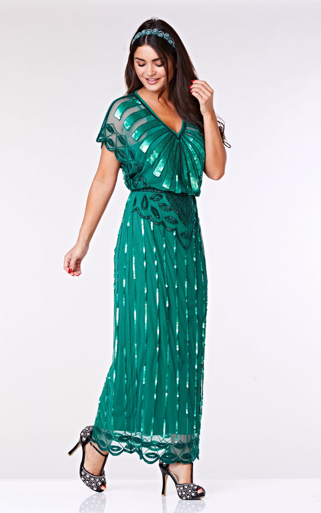 Angelina Vintage Inspired Maxi Dress in Teal by Gatsbylady London