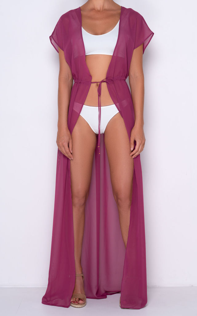 CARMELA Cassis Maxi Cover Up in Burgundy by AQUALUXE