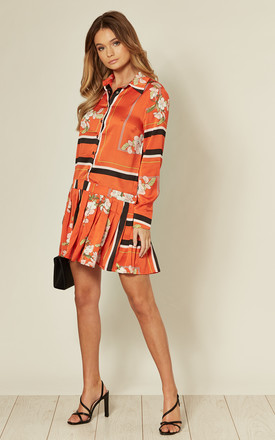 Smock Shirt Dress with Pleat Detail in Orange by MISSI LONDON
