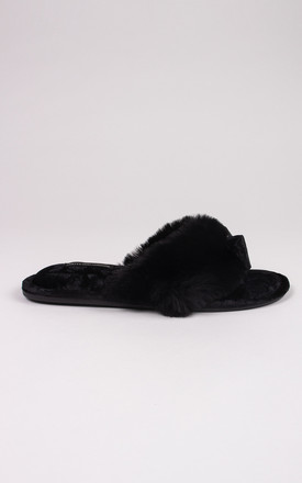Amelie Toe Post  Slippers in Black Faux Fur & Velvet by Pretty You London