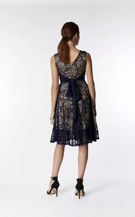 Contrast Lace Midi Dress in Navy by JOLIE MOI