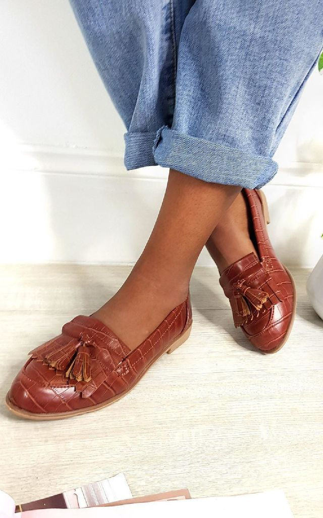 Harris Faux Leather Tassel Loafer Flats in Brown by IKRUSH