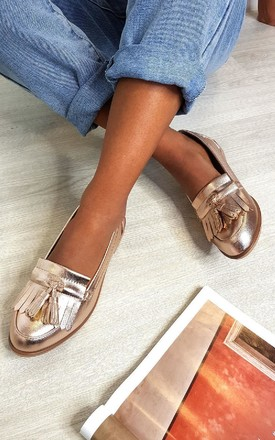 Harris Faux Leather Tassel Loafer Flats in Champagne by IKRUSH