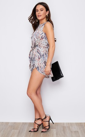 Wendy Tie Waist Keyhole Detail Playsuit White Paisley Print by Girl In Mind
