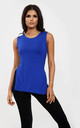 Millie Royal Blue Vest Top with Side Splits by Oops Fashion