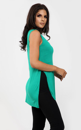 Millie Green Vest Top with Side Splits by Oops Fashion