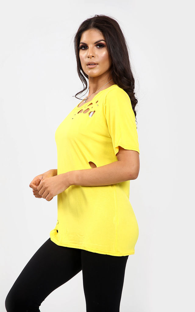 Clara Rose Oversized Ripped TShirt In Yellow by Oops Fashion