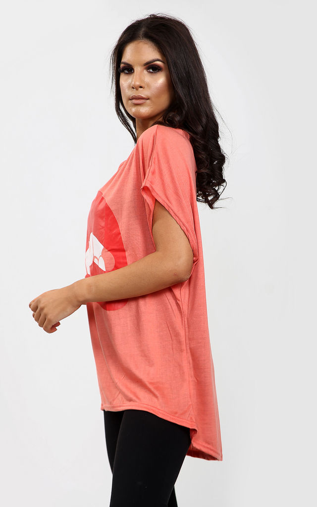 Harper Lips Graphic Print Oversize Tshirt In Coral by Oops Fashion